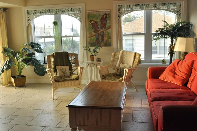 relax in the comfy living room - Tybee Island Beach Condo/Indoor Pool/sleeps 7 - Tybee Island - rentals