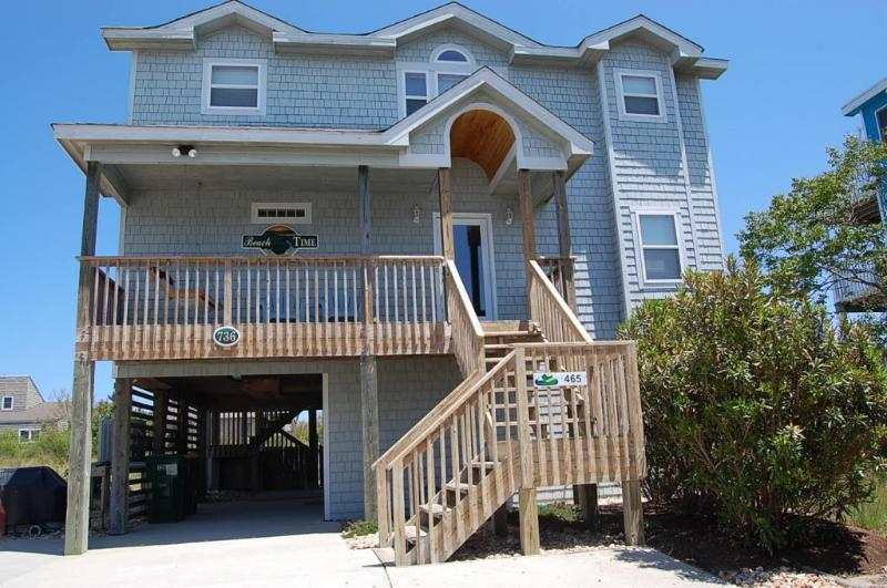 Beach Time - front of house - OBX Family Beach Home - Pool, Hot Tub, Pool Table - Corolla - rentals