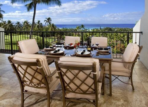 One of two lanais - gas barbecue grill, 6 seat dinning set and serving station - 5 Star Ocean View Kona Condo - Kailua-Kona - rentals