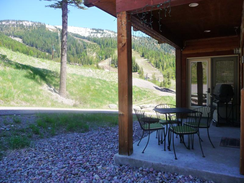 View from Covered Patio w/Gas BBQ! - Luxury Ski-in Ground-level Condo 35 min to Glacier Park!  Hot tub, Patio, Views! - Whitefish - rentals