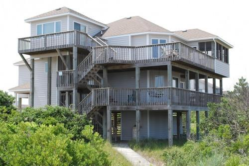 Front view,  with walkway from under house to street - Third house from water, great ocean views! - Corolla - rentals