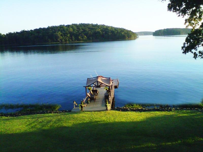 Dock and view of the Uwharrie National Forest. - Private Waterfront with Unforgettable Views - New London - rentals
