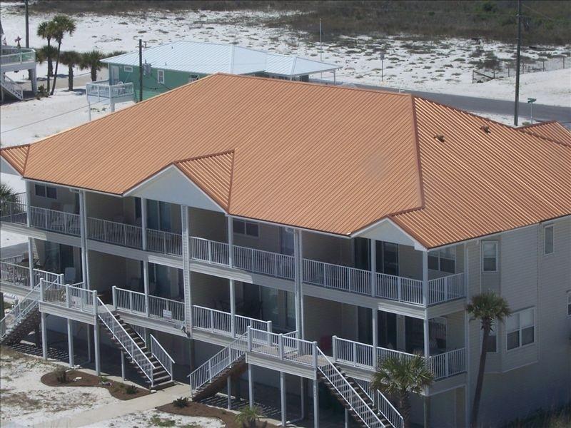 SeaBreeze aerial, Gulf side view - SeaBreeze. 'A Navarre Beach Secret' - Navarre Beach - rentals
