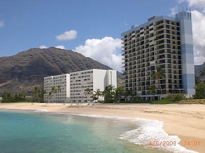 Hawaiian Princess is Right on the Beach (the closer taller building) - Beach Front Hawaiian Princess Corner Unit Condo - Waianae - rentals