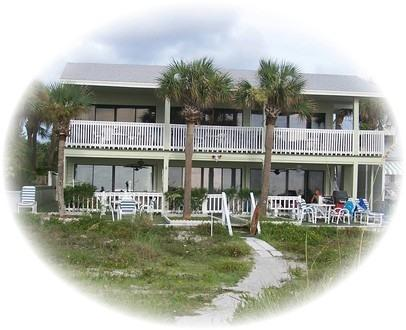 "Our building from the beach, # 3 lower left - Gulf Beach Front Condo! ""Shack on the Sand""  Ground Level on Beach - Indian Rocks Beach - rentals"