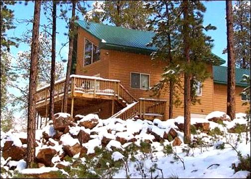 Outside View of Snowy Bluff - 10 ACRES PRIVATE SECLUDED HOT TUB POOL TABLE - Lead - rentals
