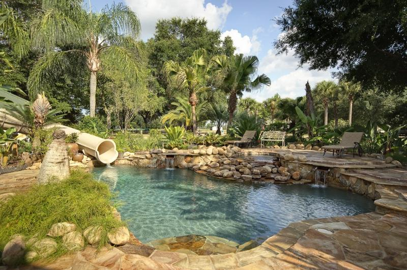 pool and 2 story water speed slide - 62 Acre Gorgeous Private Island Near Orlando - Clermont - rentals