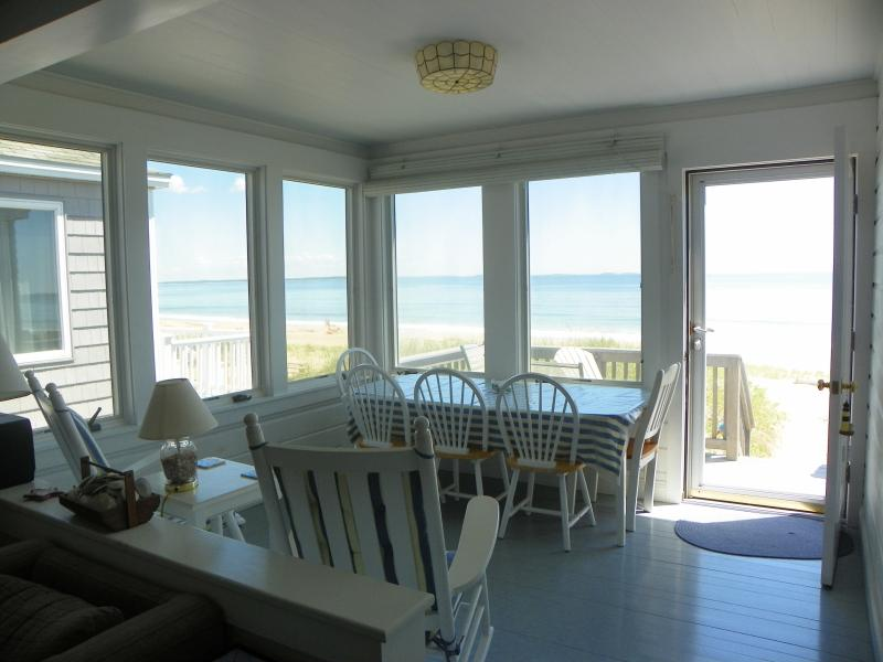 Ocean front porch - Charming Ocean Front Cottage on Maine Sandy Beach - Saco - rentals