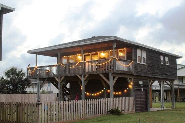 Front View Showing Large Covered Deck - Charming Beachside Home - Awesome View - Hot Tub - Galveston - rentals