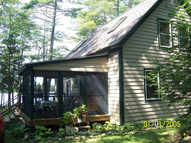 Back of cottage and porch - lakefront hideaway - Nobleboro - rentals