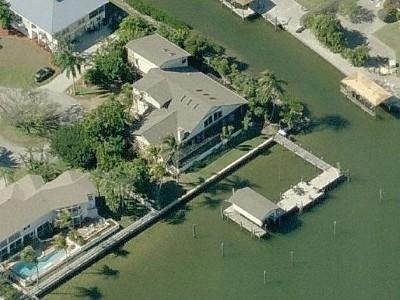 Aerial View of our large fabulous home; we are on Matanzas Bay & a Canal. - ON Bayfront 6 Bedrm,5Bath w/Indoor Pool,NearBeach - Fort Myers Beach - rentals
