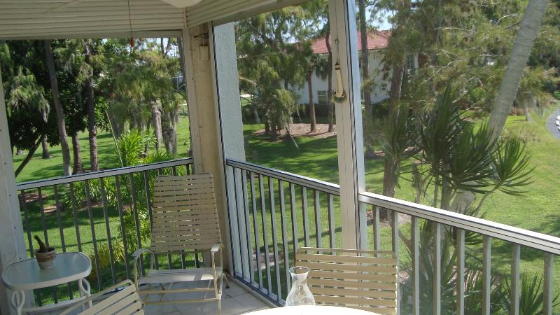 view from screened lanai  - also has hurricane shutters to keep out rain - Forest Lakes Naples, newly available - Naples - rentals