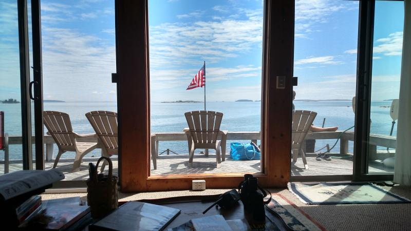 View from the living room couch!  Sent by a guest, thanks, Brett! - Wonderful Large Oceanfront Cottage - South Thomaston - rentals