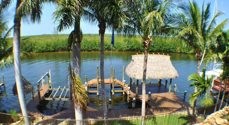 View from pool area of waterfront, dock and Mangroves - Waterfront Gulf Access Home with Pool, Spa, Dock - Cape Coral - rentals