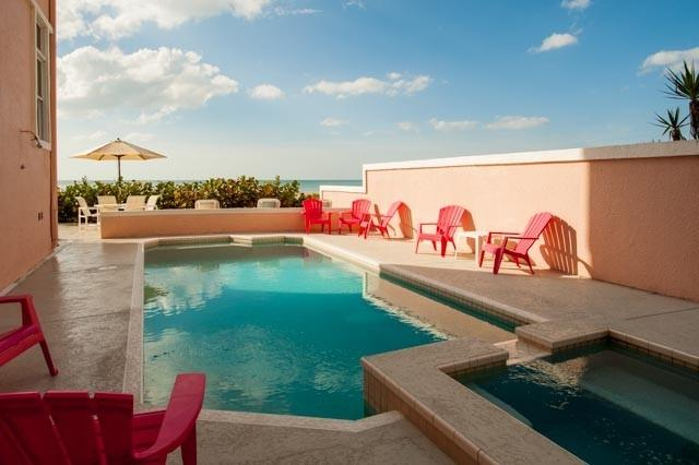 Private Pool and Hot Tub overlooking the Gulf of Mexico.  Pool is heated at 85. - 5 Bedroom Gulf Front Villa   Private Heated Pool - Belleair Beach - rentals