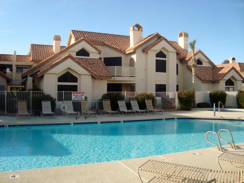 Heated pool/spa by the unit.  Right across from the unit. - Sunny, Pool View, Cubs Oakland A's Spring Training - Mesa - rentals