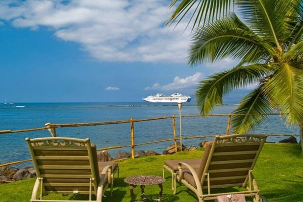 From the lawn you can see the islands of Kahoolawe, Lanai and Molokai! - Oceanfront Treasure - w/ kayaks, BBQ, near shops - Lahaina - rentals