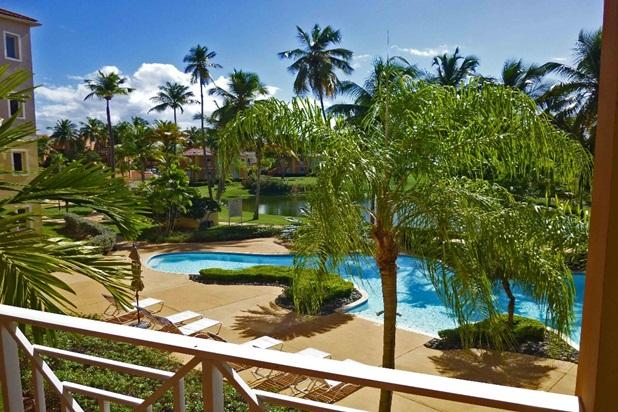 Direct view to Palmas Doradas pool area. - Poolside Condo, Steps to Beach - Humacao - rentals