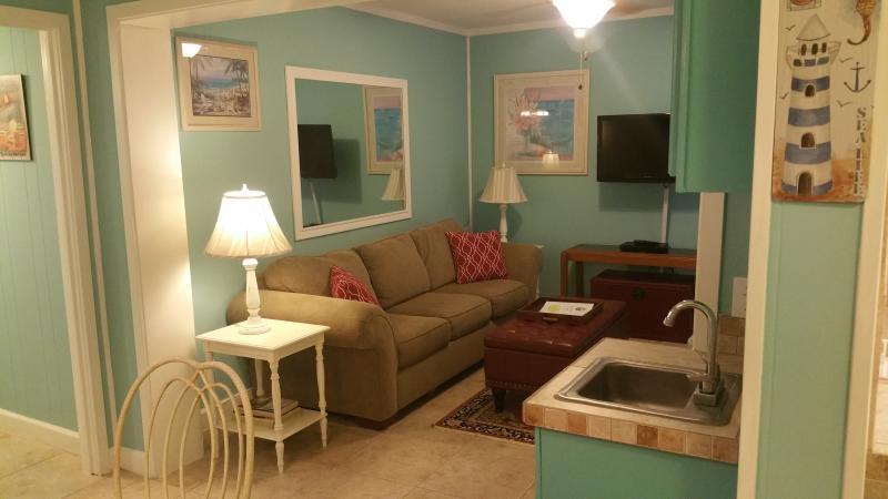 Den with queen sleeper, flat screen TV. - Walk to Beach-Sleeps 8-Parris Island Specials! - Hilton Head - rentals