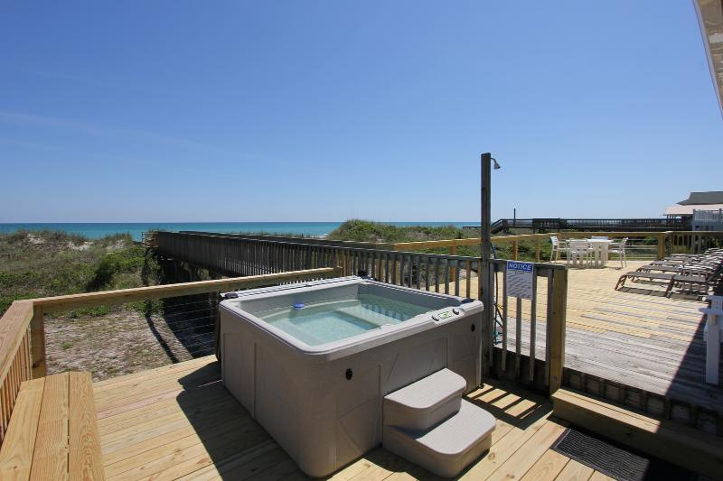 Hot Tub on the Ocean Front Deck - Ocean Front Home, Private Hot Tub, Screen Porch - North Topsail Beach - rentals