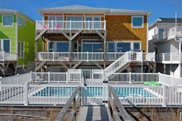 HOUSE AND POOL FROM WALKWAY TO BEACH - SANDCASTLE 5 BEDROOM OCEANFRONT POOL - Kure Beach - rentals