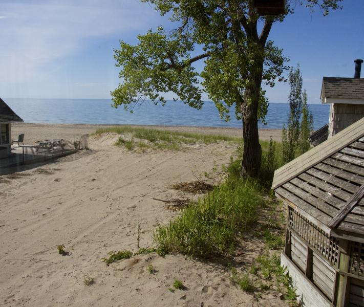 View out the 2nd story window. A beautiful Beach, Sand & Water, a few steps away - Beautiful Sandy Beachfront, in Sodus Point - Sodus Point - rentals