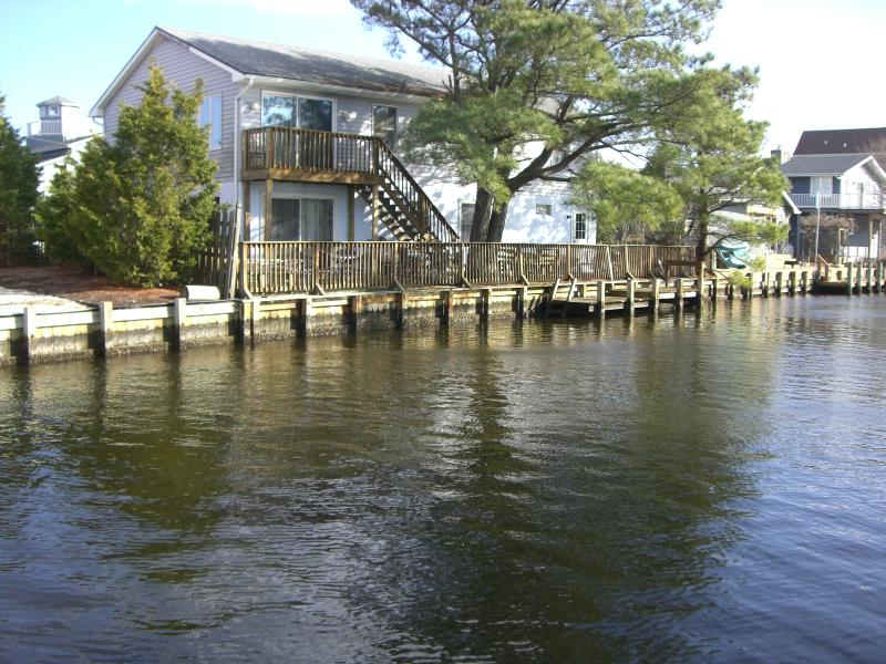 House on lagoon has fenced-in gated back deck and boat dock - Waterfront Family or Group House 3 Blks to Beach - Bethany Beach - rentals