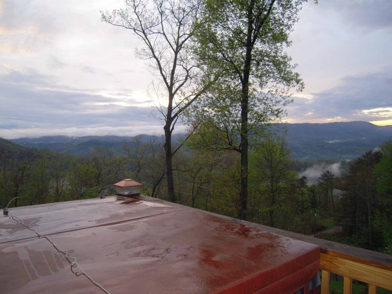 The HOT TUB on the lower level deck has an amazing view! - 4 bedroom cabin with SPECTACULAR VIEW! Free Wi-Fi! - Pigeon Forge - rentals