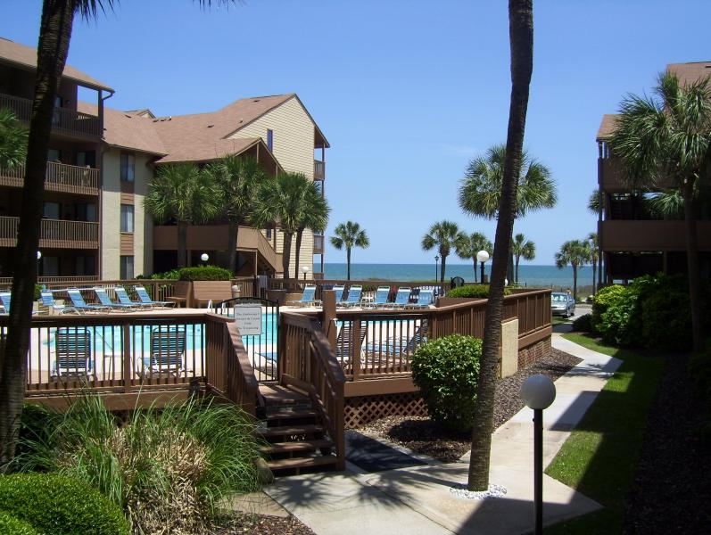 Gorgeous view of pool and ocean from deck - Luxury Beach Condo Oceanfront Anchorage I - Myrtle Beach - rentals