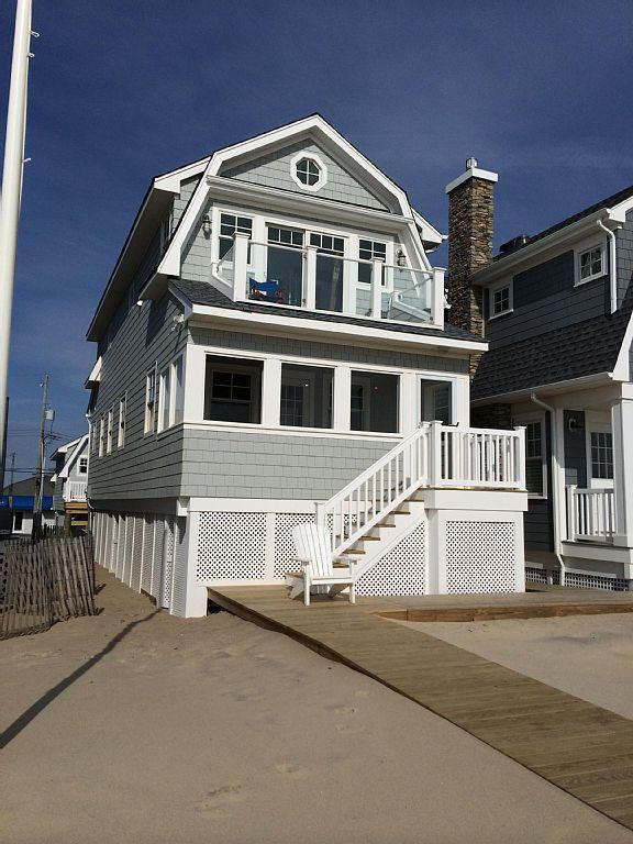 Front of the house looking from the boardwalk. Note  balcony & porch. - Ocean front beach house third from inlet - Manasquan - rentals