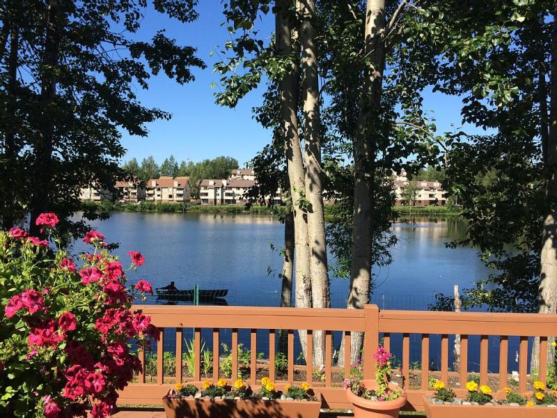 Deck view in summer (the sunny place all day long in summer) - Reflection Lake Rental  (with lake/Mountain Views) - Anchorage - rentals