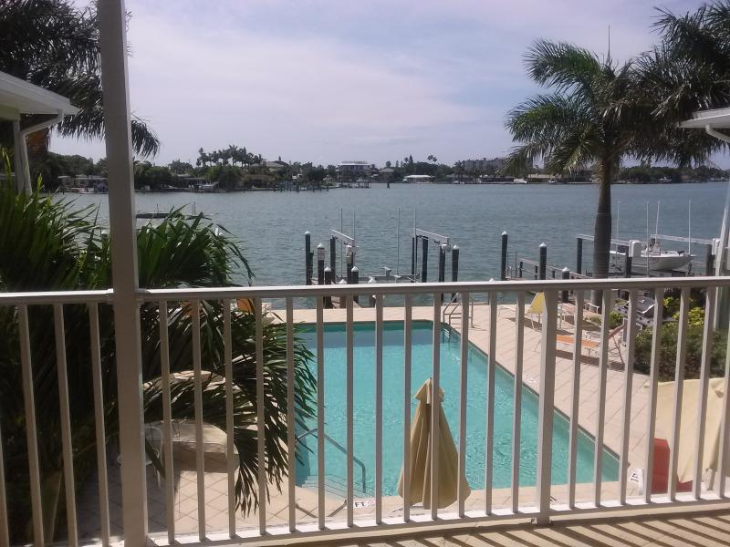 Beautiful view of Boca Ciega Bay from the balcony of this unit. - Luxury Waterfront 1 Bedroom Condo - Treasure Island - rentals