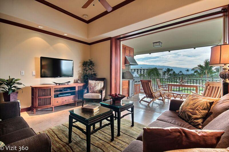 Living Room and View(to left) - Kolea 5* Luxury 2 BD./2BTH PENTHOUSE SPECIAL$289nt - Waikoloa - rentals