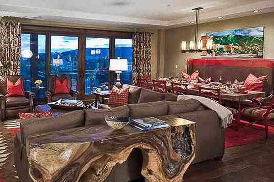 Comfortable living room and dining room - Slopeside!  One Steamboat Place - Mt Zirkel - Steamboat Springs - rentals