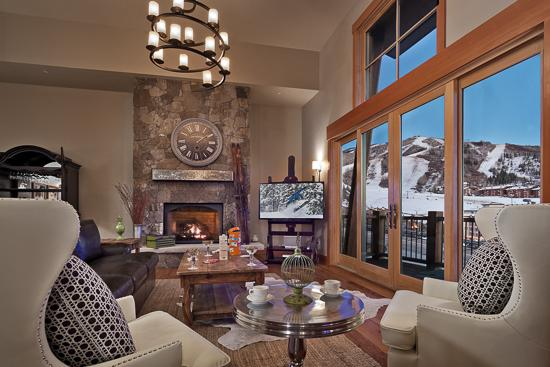 Spacious living room with spectacular views of the ski area - Sunshine Peak Chalet - Steamboat Springs - rentals