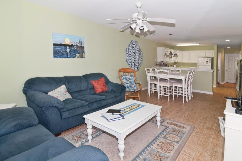 Living room-Comfortable seating, TV/DVD, sliders to patio - July 8-15 Available-FamilyFriendly, Pools/HotTubs, Golf, WiFi, W/D, Near Beach - Pawleys Island - rentals