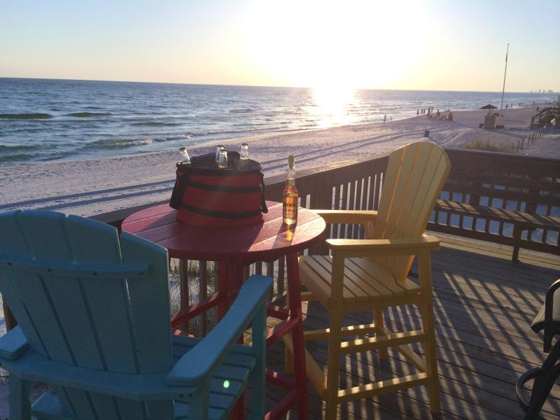 Enjoy the Sunset from the Back Deck overlooking the Ocean - View Looking West - Panama City OceanFront Private Home Sleeps 12 - Panama City Beach - rentals