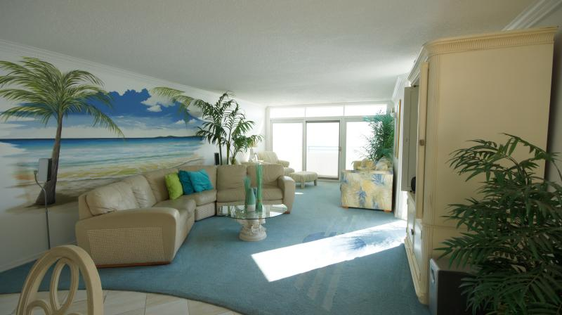 Living area from this awesome ocean front condo - Amazing Ocean Front 2 bedroom Unit 8M - Ocean City - rentals