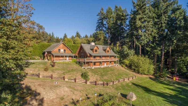 Arial view of lodge and big lower lawn looking north. - Bayview Retreat - Vashon Island, Washington - Vashon - rentals