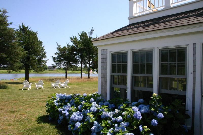 Hydrangeas and Waterviews  and Summer - MEINW - Wade's Cove Luxury Residence,  Key to Private Hancock Beach, 1/2 mile - West Tisbury - rentals