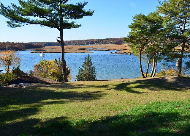 Lawn and view - Annisquam Singing Pines: Private riverfront setting & tidal dock. - Gloucester - rentals