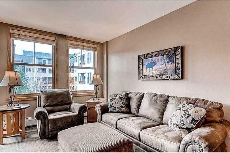 The Living Room with Queen Sleeper Sofa, Chair and Ottoman. - Near Lifts, Heated Pool, Hot Tubs, Balcony, WiFi - Keystone - rentals