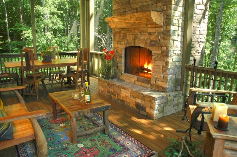 Screened in porch with outdoor fireplace. You'll live out here! - Serenity at its Best - NC Mountain Home - Franklin - rentals