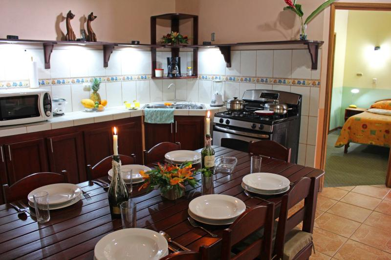 Fully equipped kitchen with propane stove, microwave, rice cooker, coffee maker. - Fortuna's Best Budget Condo - Centrally Located - La Fortuna de San Carlos - rentals