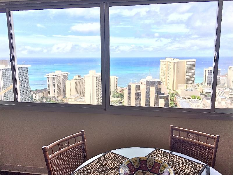 Panoramic Ocean views from living room. - Awesome Ocean Views, 1 BR, 43rd floor, Waikiki, HI - Honolulu - rentals