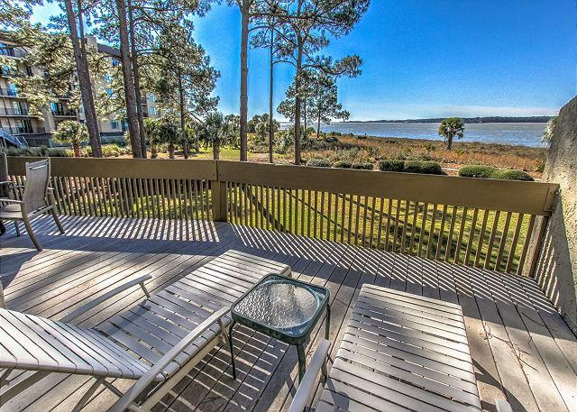 Patio/View - 1457 Sound Villas - Beautiful Calibogue Sound/Beachfront Views! - Hilton Head - rentals