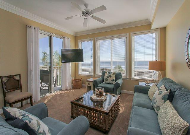Living Area - 3202 SeaCrest- Direct Oceanfront  and Full Renovated - Hilton Head - rentals