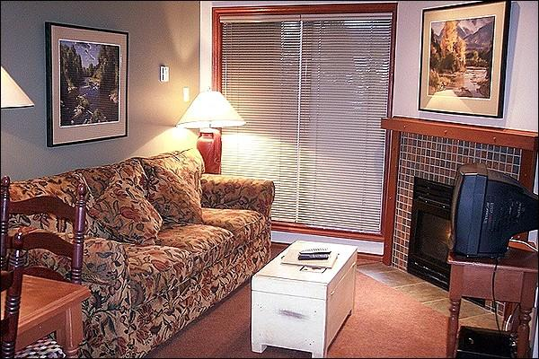 Cozy Living Room has a Gas Fireplace and TV - Next to Whistler Market Place - Short Walk to Mountain Bases (4019) - Whistler - rentals