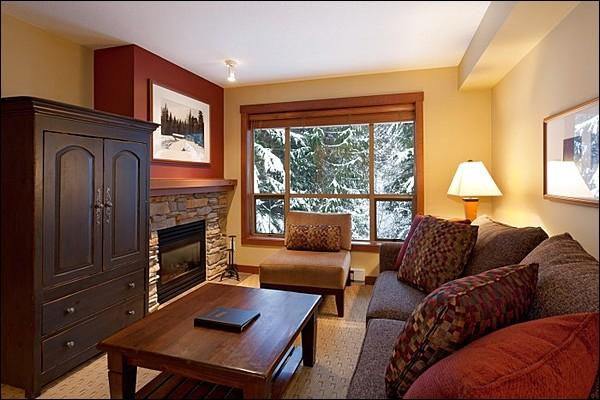 Elegant Living Room has a Cozy Gas Fireplace - Lush Forest Setting with Valley View - Tasteful Furnishings and Decor (4025) - Whistler - rentals