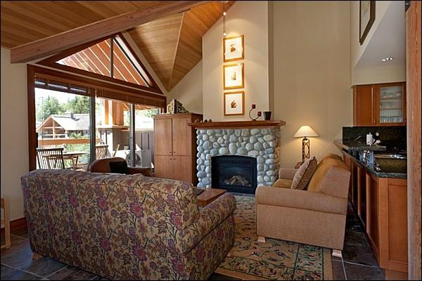 Beautiful Inviting Living Area with Stone Fireplace - Private Outdoor Hot Tub - Private Balcony (4033) - Whistler - rentals